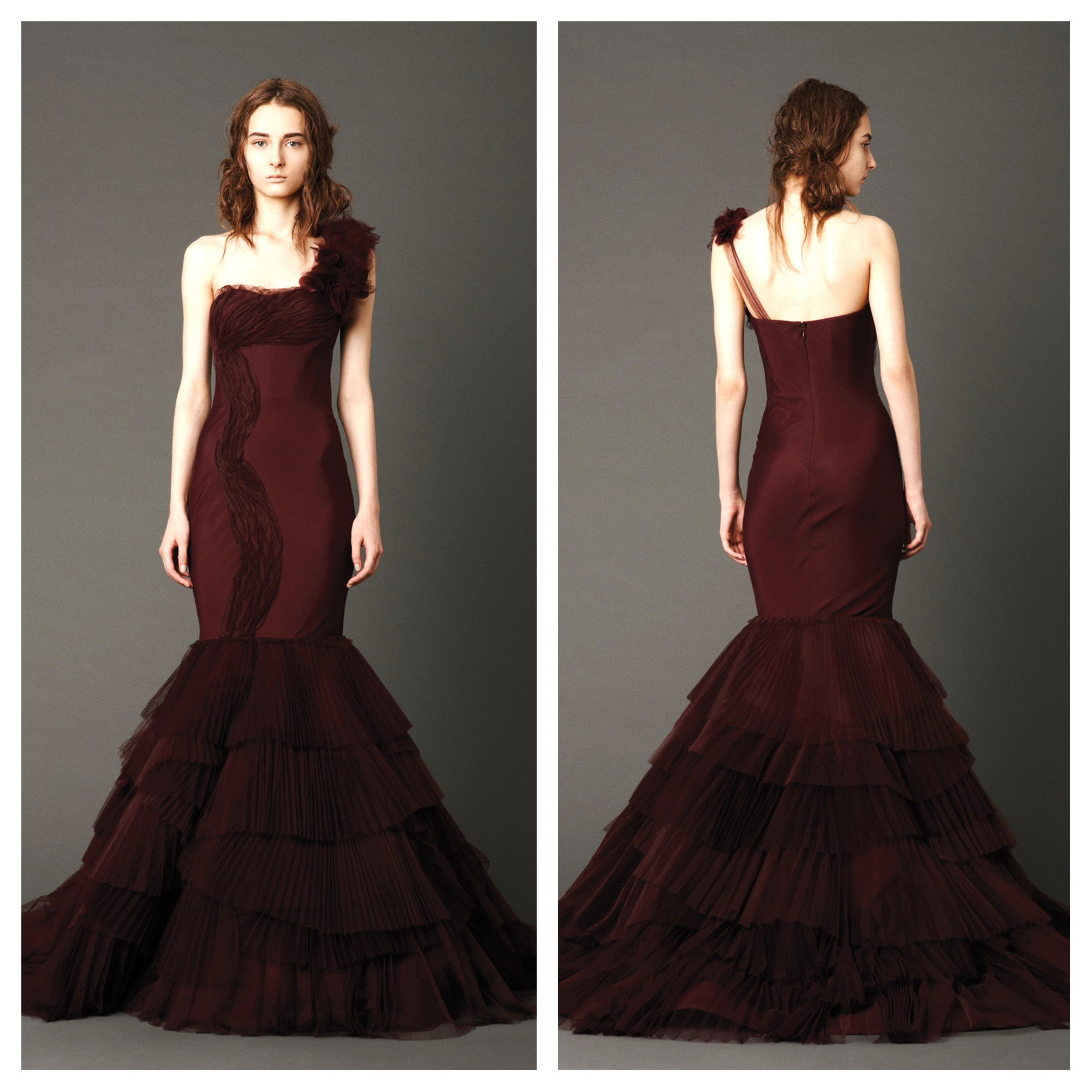 Vera wang goes red for spring wedding dresses the big for Red wedding dress vera wang